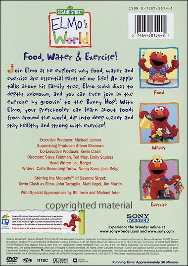Elmo'S World : Food Water & Exercise | BoomerangShop com