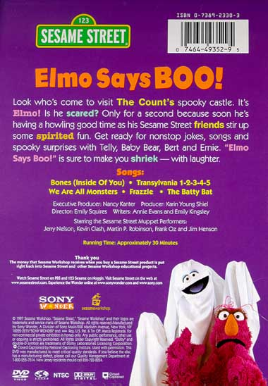 elmo says boo vhs Elmo says boo is a 1997 sesame street direct-to-video compilation celebrating halloween elmo.