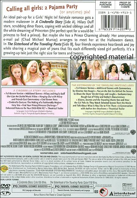 Cinderella Story & Sisterhood Of Traveling Pants | BoomerangShop com